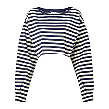 Buy Miss Selfridge Long Sleeve Striped Crop Top, Assorted Online at johnlewis.com