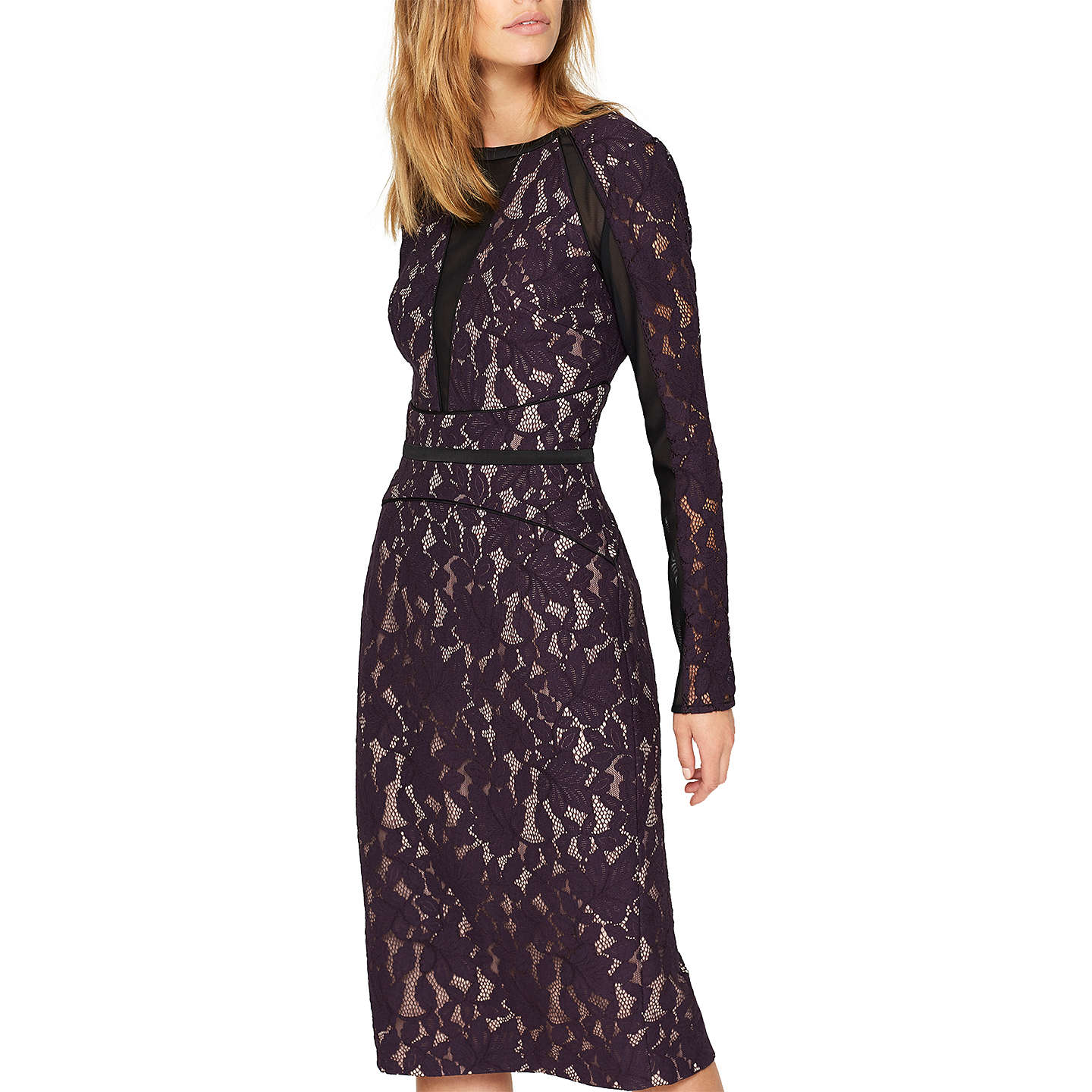 Damsel in a dress Dalia Lace Panel Dress, Aubergine/Black at John Lewis