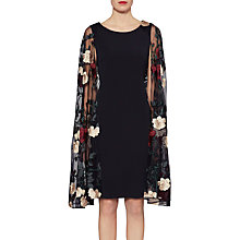 Buy Gina Bacconi Melissa Embroidered Cape Dress, Black Online at johnlewis.com