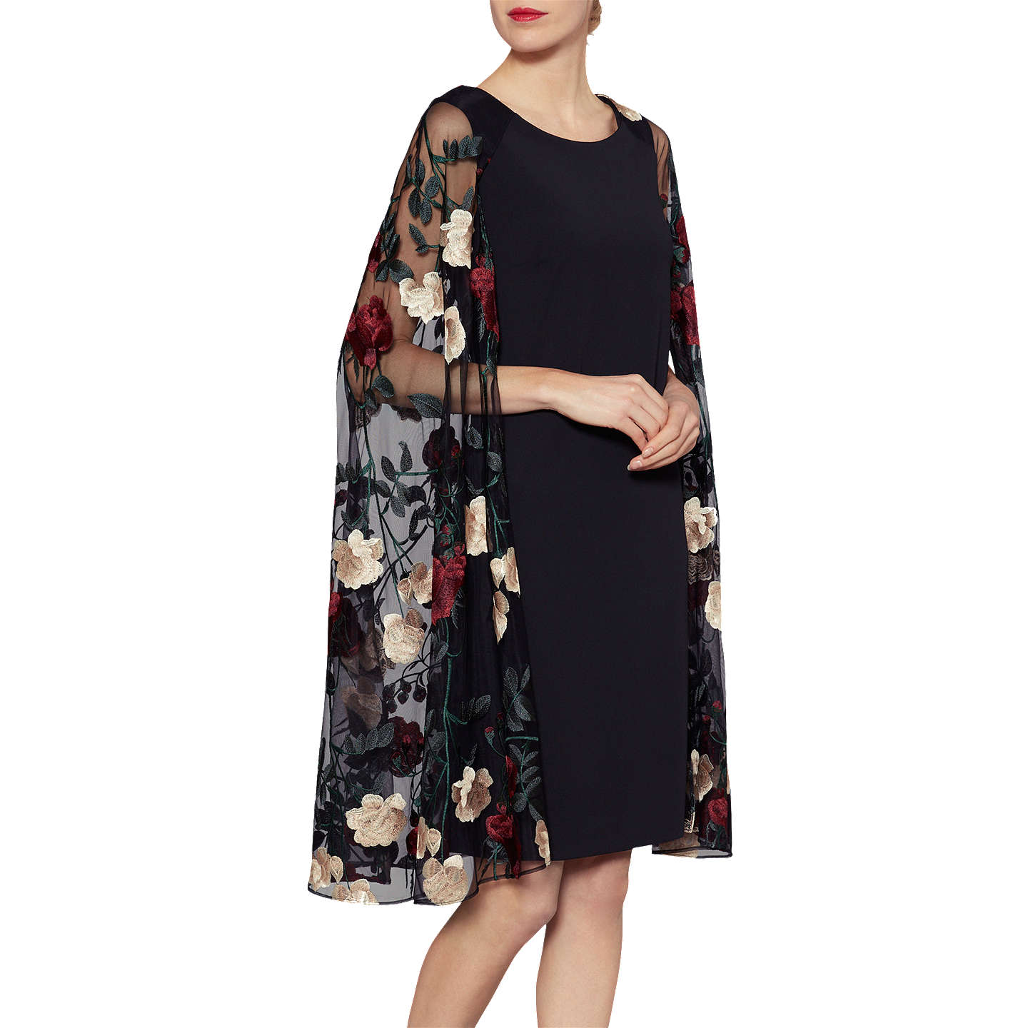 BuyGina Bacconi Melissa Embroidered Cape Dress, Black, 8 Online at johnlewis.com