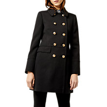 Buy Warehouse Femme Pea Coat, Black Online at johnlewis.com