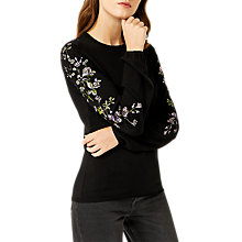 Buy Warehouse Embroidered Sleeve Jumper, Black Online at johnlewis.com
