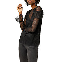 Buy Warehouse Chantilly Lace Top, Black Online at johnlewis.com