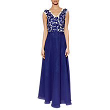 Buy Gina Bacconi Jemina Lace Bodice Dress With Scarf, Blue Online at johnlewis.com