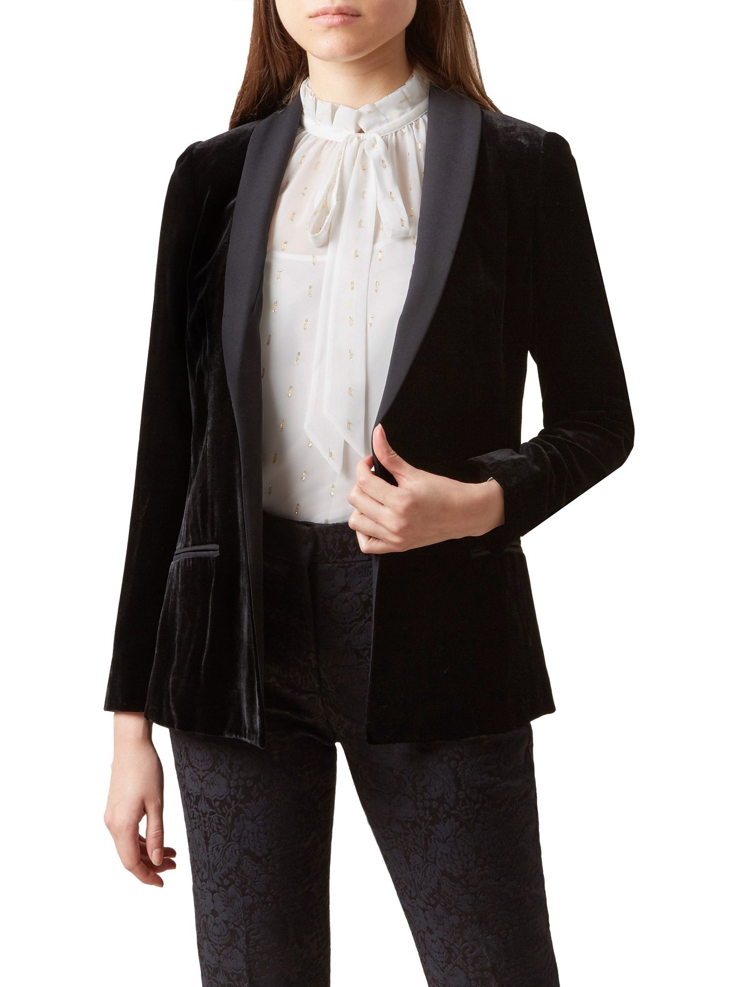 Hobbs Mila Velvet Jacket Black At John Lewis Partners