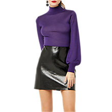 Buy Warehouse Faux Leather Patent Skirt, Black Online at johnlewis.com