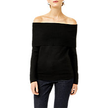 Buy Warehouse Soft Deep Bardot Jumper, Black Online at johnlewis.com