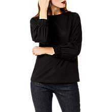 Buy Warehouse Elasticated Cuff Top, Black Online at johnlewis.com