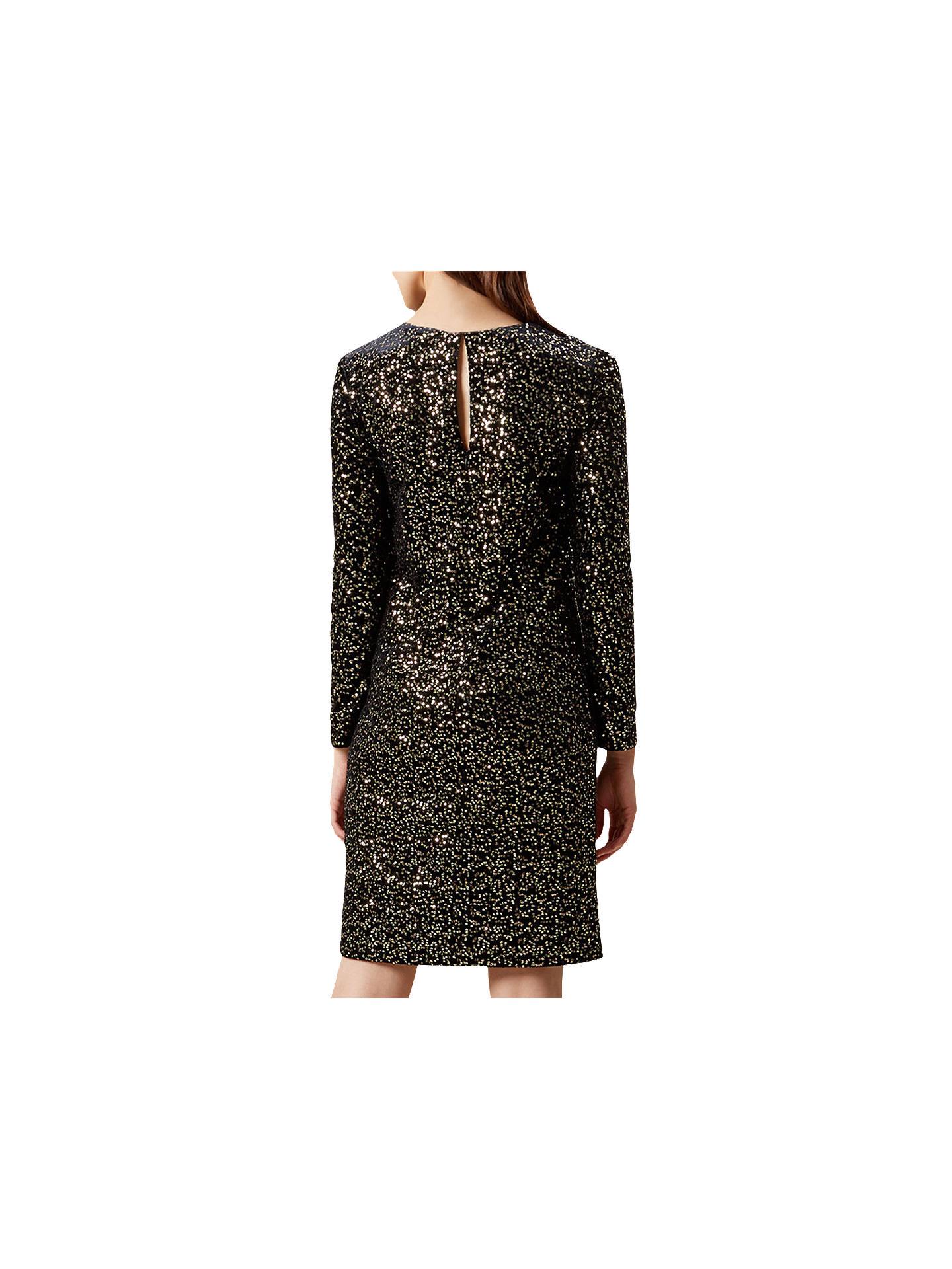 054ac24f ... Buy Hobbs Mia Sequin Dress, Black/Gold, 6 Online at johnlewis.com ...