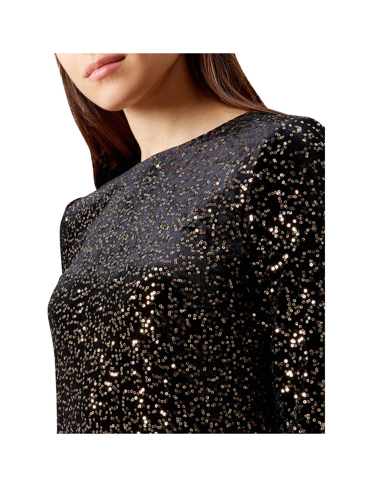 5c29e6c9 ... Buy Hobbs Mia Sequin Dress, Black/Gold, 6 Online at johnlewis.com