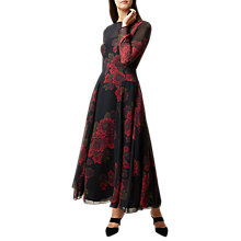 Buy Hobbs Silk Rose Dress, Black/Red Online at johnlewis.com