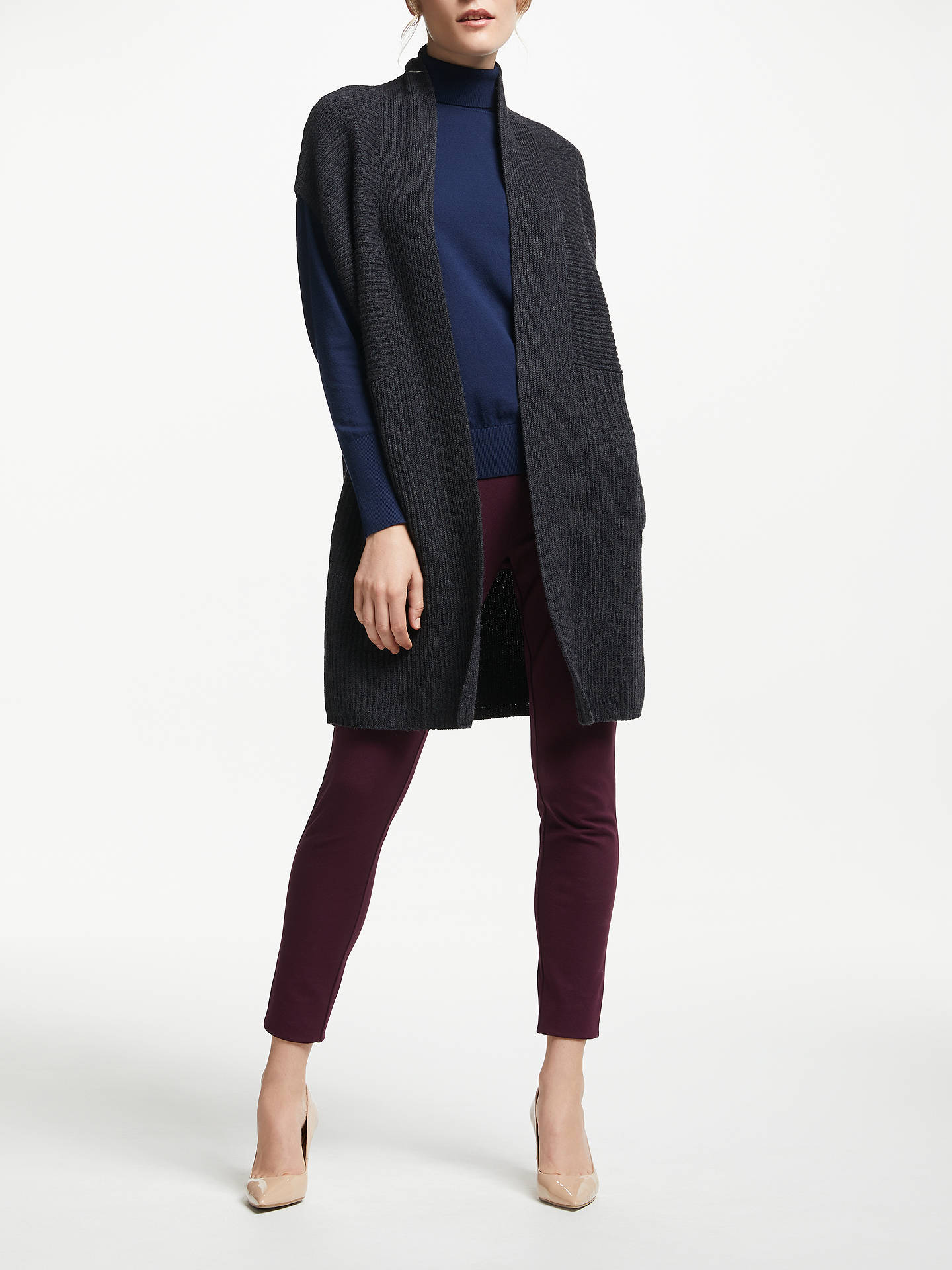 BuyWinser London Merino Wool Sleeveless Cardigan, Charcoal Marl, XS Online at johnlewis.com