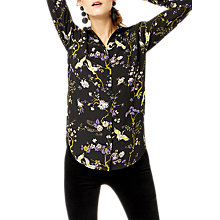 Buy Warehouse Floral Bird Print Shirt, Black Online at johnlewis.com