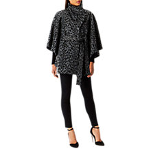 Buy Coast Valera Leopard Print Cape Coat, Grey Online at johnlewis.com
