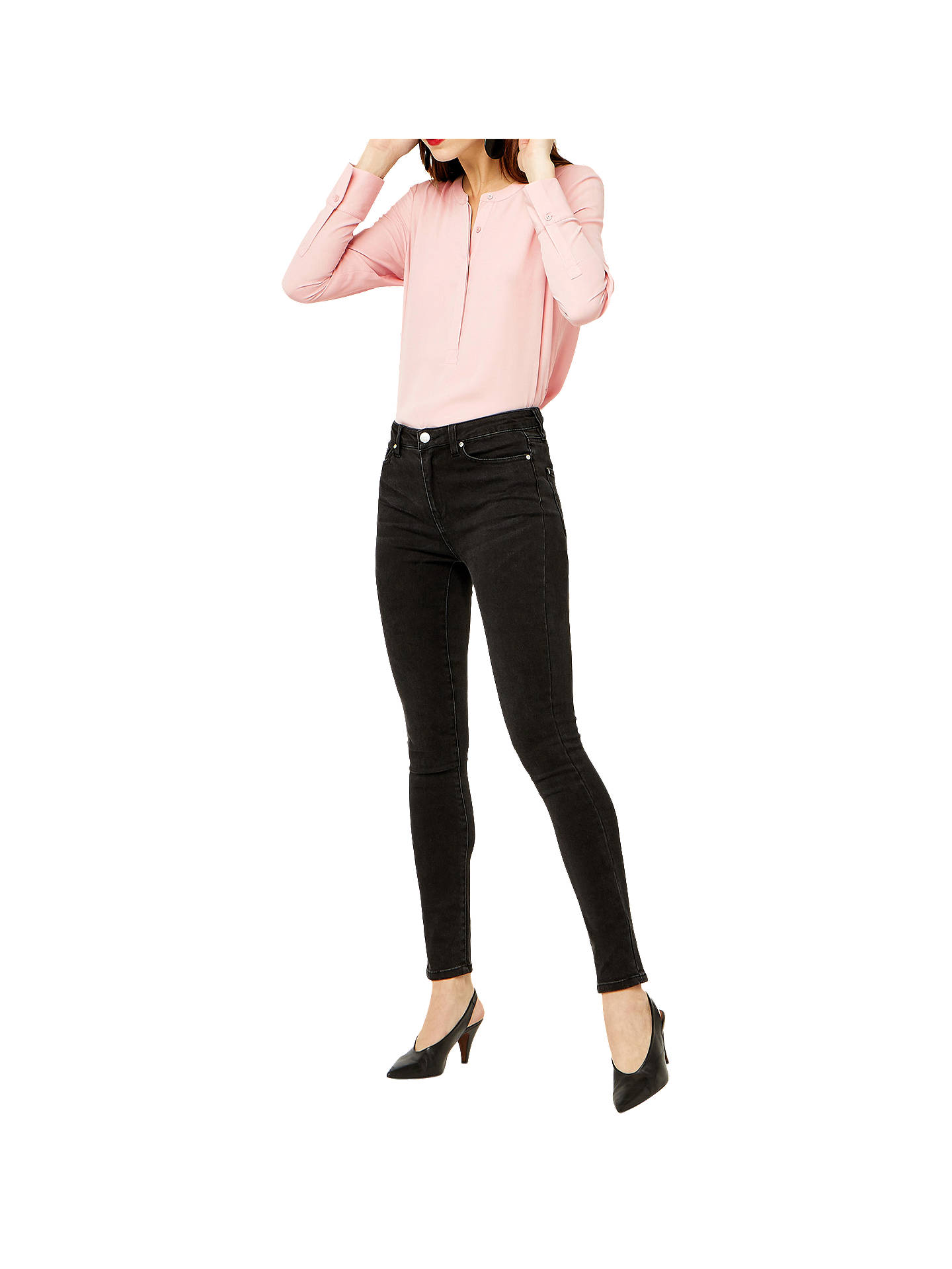 BuyWarehouse Long Sleeve Button Side Blouse, Light Pink, 6 Online at johnlewis.com