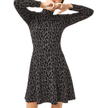 Buy Warehouse Leopard Jacquard Polo Dress, Grey Online at johnlewis.com