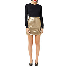Buy Warehouse Metallic Faux Leather Skirt, Gold Online at johnlewis.com