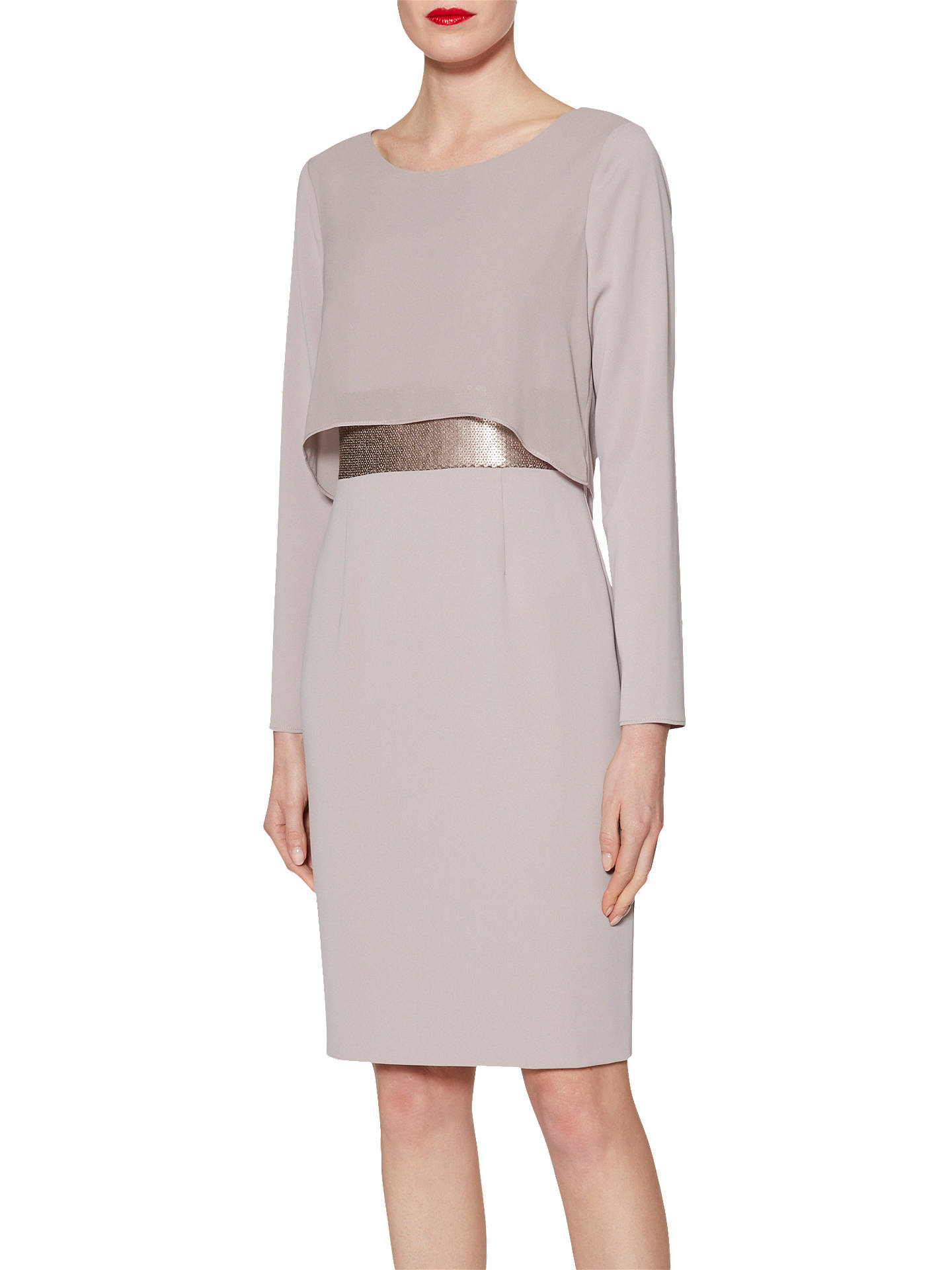Buy Gina Bacconi Paula Sequin Waist Dress, Beige, 8 Online at johnlewis.com
