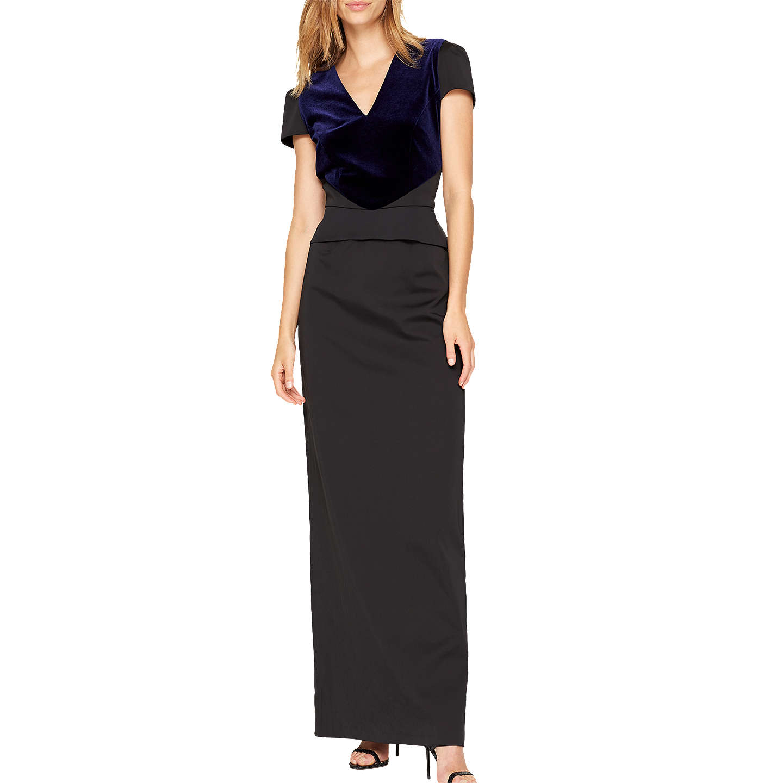 Damsel In A Dress Kelsie Dress Black At John Lewis: Damsel In A Dress Vita Velvet Mix Maxi Dress, Navy/Black