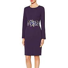 Buy Gina Bacconi Nadine Embroidered Waist Dress, Purple Online at johnlewis.com