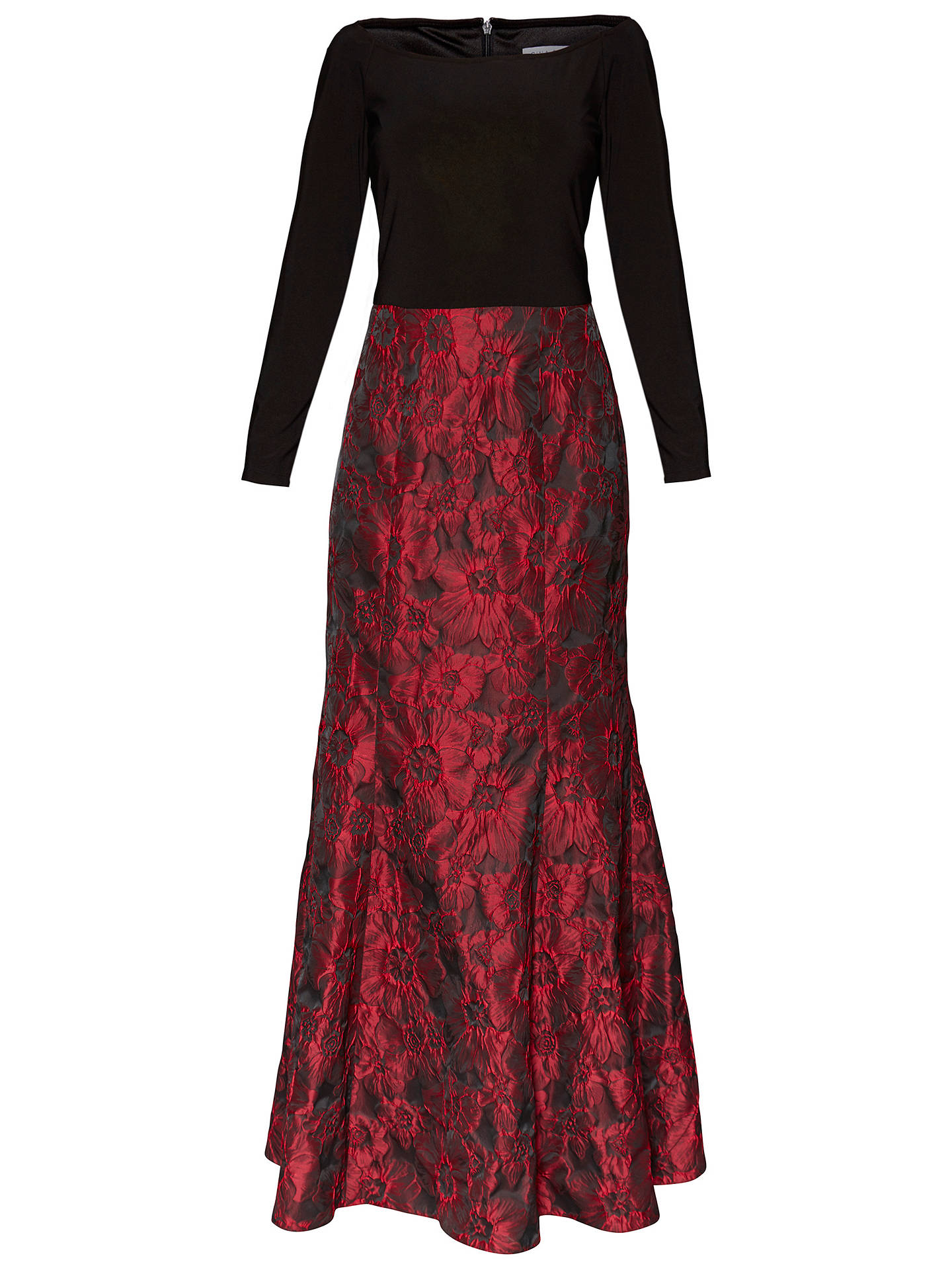 BuyGina Bacconi Octavia Jacquard Maxi Dress, Red/Black, 8 Online at johnlewis.com