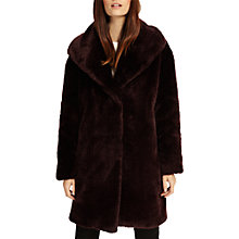 Buy Phase Eight Beckie Faux Fur Coat, Dark Port Online at johnlewis.com