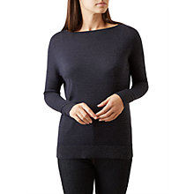 Buy Hobbs Charlotte Merino Blend Glitter Jumper, Navy/Gold Online at johnlewis.com