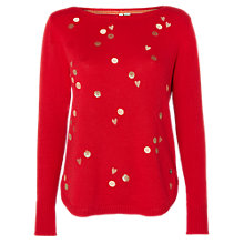 Buy White Stuff Spot My Heart Jumper, Red Online at johnlewis.com