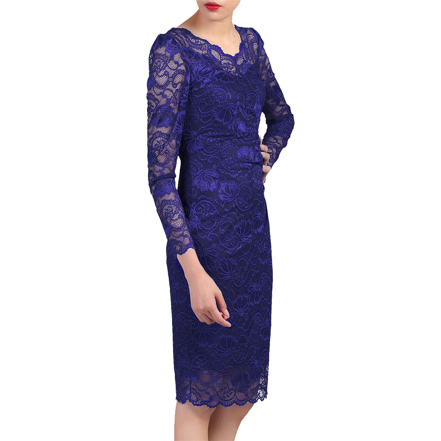 BuyJolie Moi Long Sleeved Lace Bodycon Dress, Royal Blue, 16 Online at johnlewis.com