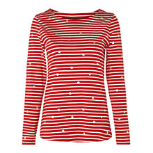 Buy White Stuff Stripe Jersey T-Shirt, Bright Red Star Online at johnlewis.com