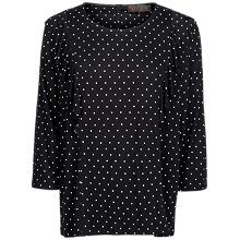 Buy Fat Face Copper & Black Linley Polka Dot Ruffle Top, True Black Online at johnlewis.com
