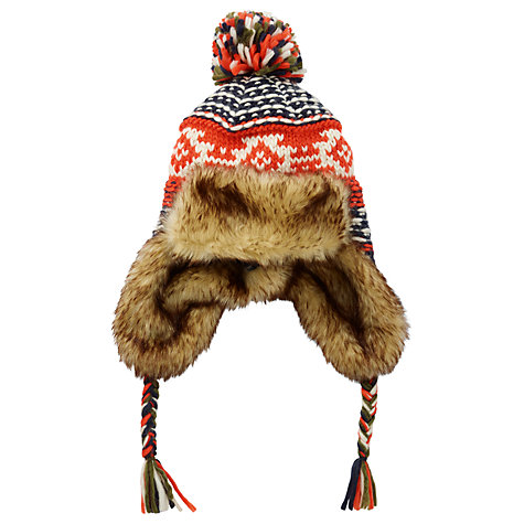 Buy Fat Face Children's Fair Isle Trapper Hat, Orange | John Lewis