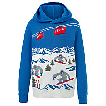 Buy Fat Face Boys' Festive Scene Hooded Jumper, Cobalt Blue Online at johnlewis.com