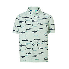 Buy John Lewis Boys' Shark Print Shirt, Green Online at johnlewis.com