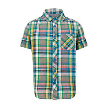 Buy John Lewis Boys' Check Shirt, Green Online at johnlewis.com