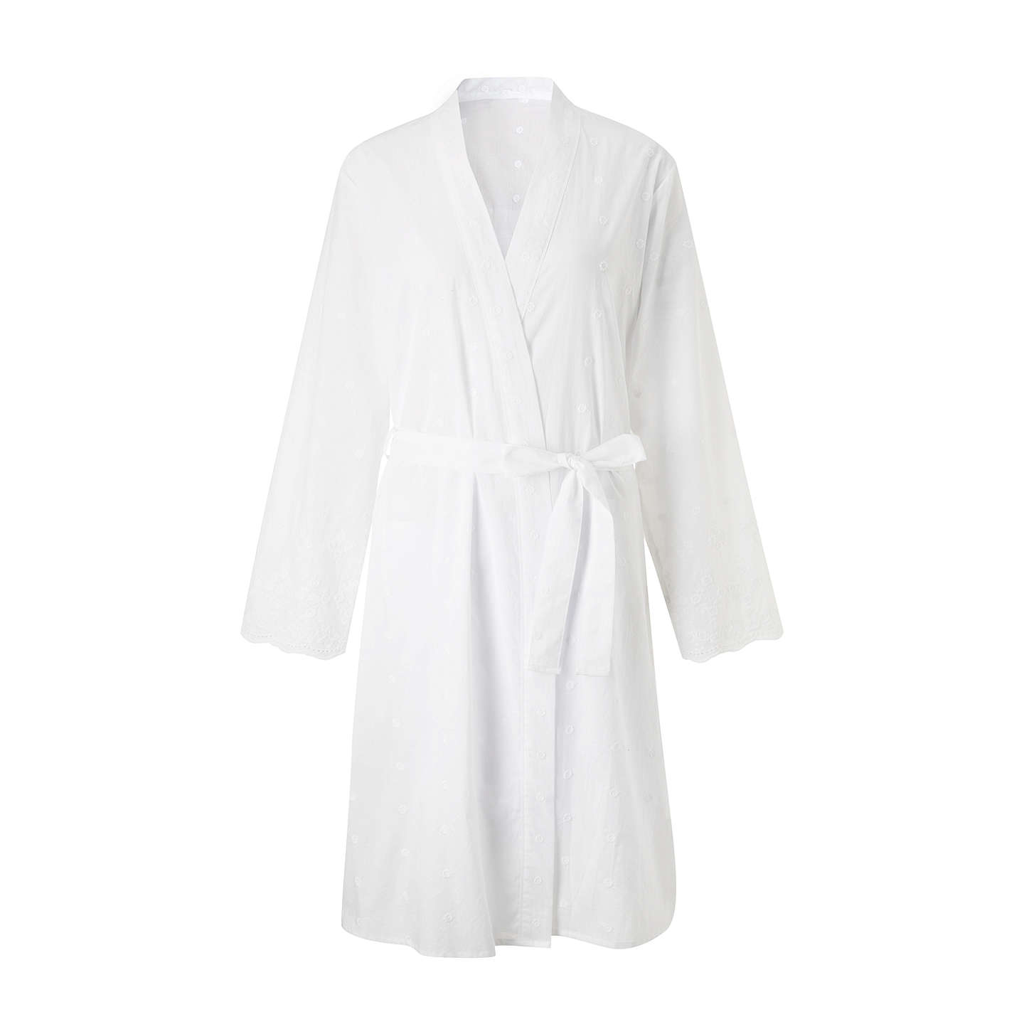John Lewis Broderie Anglaise Cotton Dressing Gown, White at John Lewis
