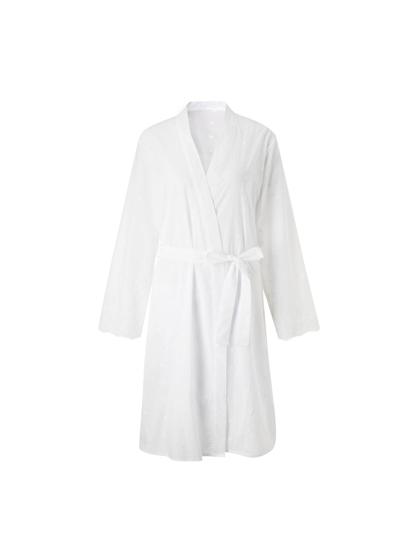 John Lewis & Partners Broderie Anglaise Cotton Dressing Gown, White ...