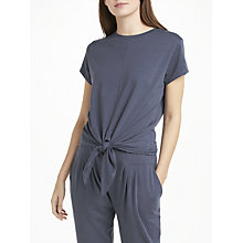 Buy John Lewis Slub Short Sleeve Knot Front Pyjama Top, Navy Online at johnlewis.com