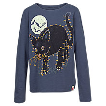 Buy Fat Face Girls' Halloween Glow In The Dark Cat T-Shirt, Navy Online at johnlewis.com