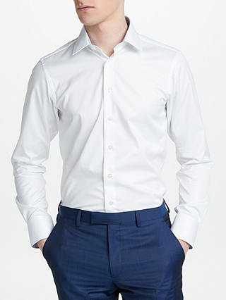 Buy Smyth & Gibson Non Iron Twill Herringbone Contrast Slim Fit Shirt, White, 15 Online at johnlewis.com
