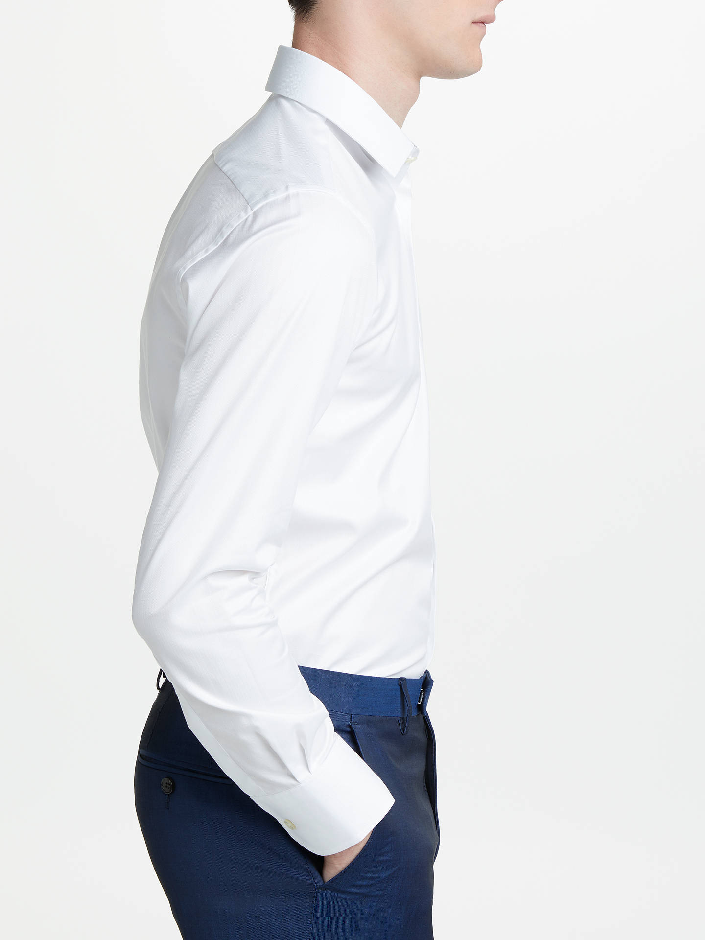 BuySmyth & Gibson Non Iron Twill Herringbone Contrast Slim Fit Shirt, White, 15 Online at johnlewis.com