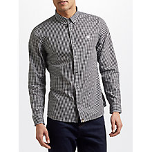 Buy Pretty Green Francis Long Sleeve Gingham Shirt, Black Online at johnlewis.com