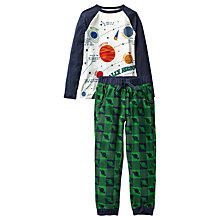 Buy Fat Face Children's Alien Check Pyjamas, Green/Navy Online at johnlewis.com