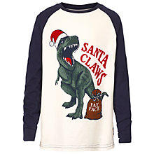 Buy Fat Face Boys' Santa Claw Christmas Dinosaur T-Shirt, White/Black Online at johnlewis.com