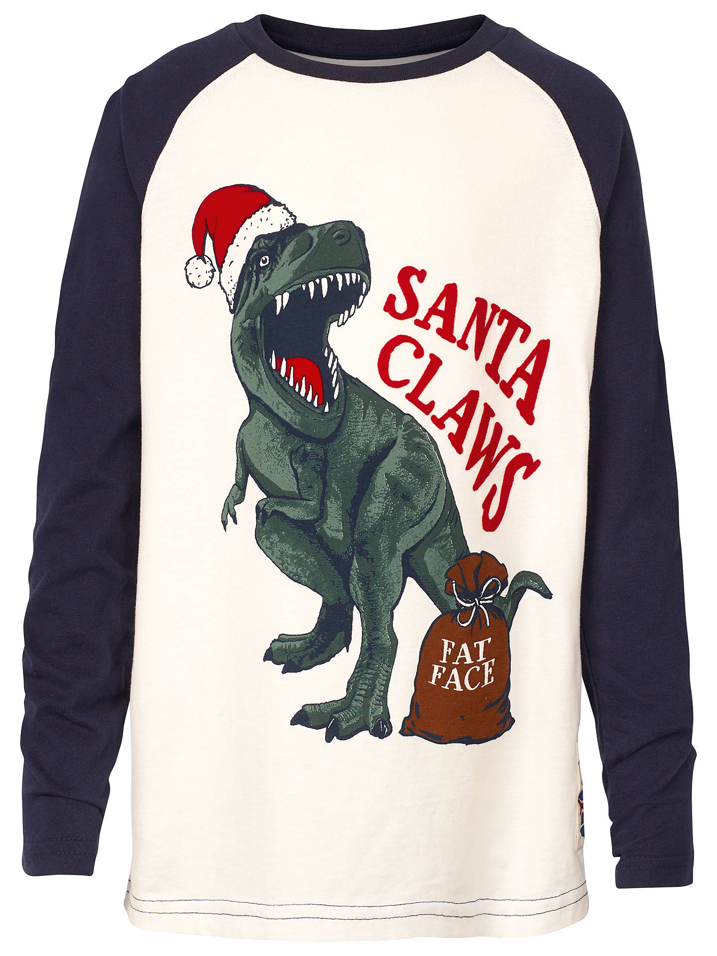 Fat Face Boys' Santa Claw Christmas Dinosaur T-Shirt ...
