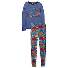 Buy Fat Face Children's Snug Fit Dinosaur Print Pyjamas, Blue Online at johnlewis.com