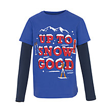 Buy Fat Face Boys' Up To Snow Good T-Shirt, Cobalt Blue Online at johnlewis.com