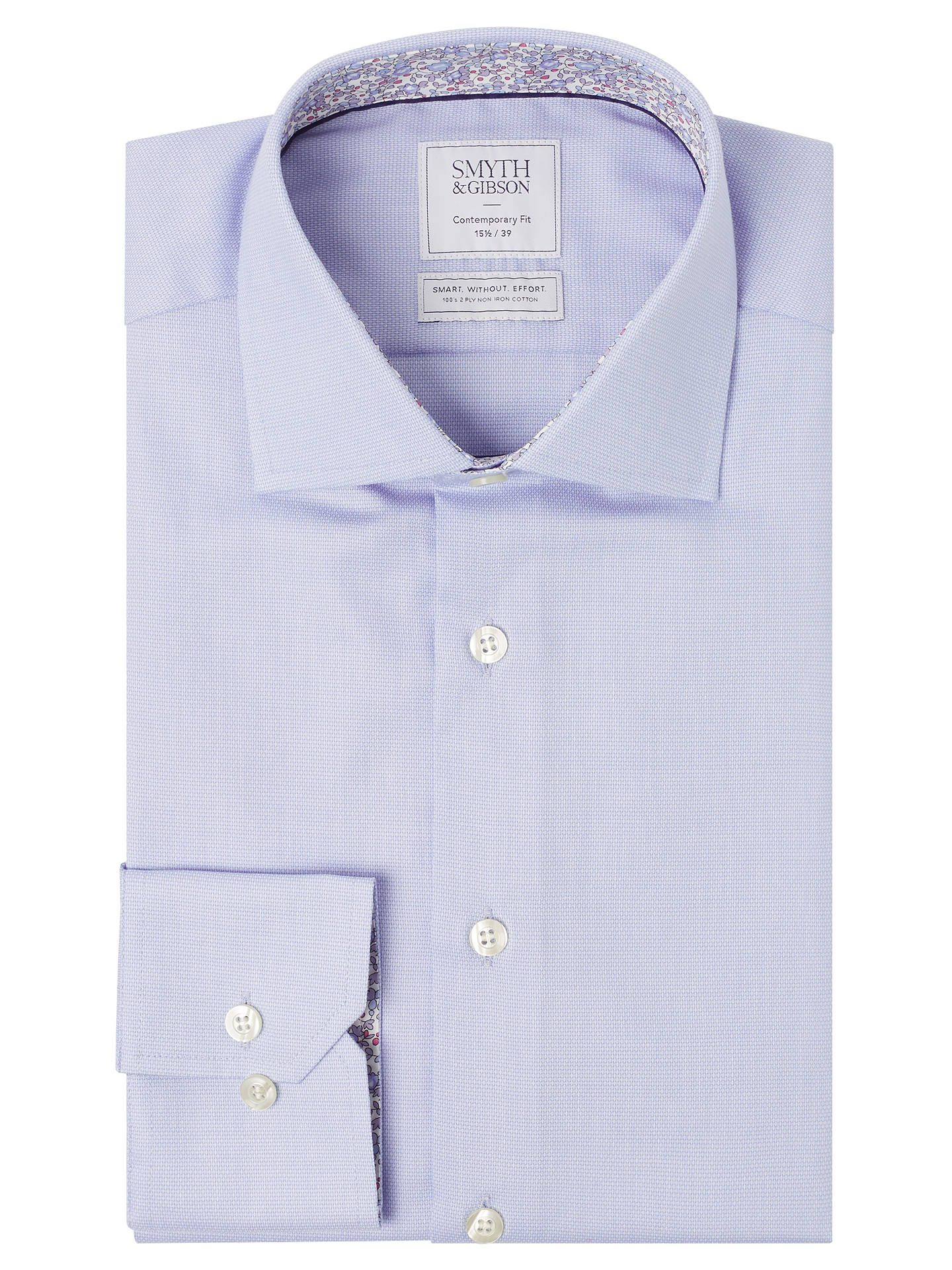 BuySmyth & Gibson Textured Pique Liberty Print Contemporary Fit Shirt, Sky, 15 Online at johnlewis.com