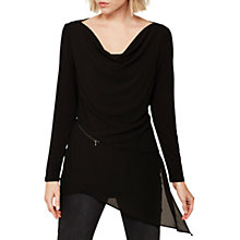 Buy Mint Velvet Zip Seam Layer Top, Black Online at johnlewis.com