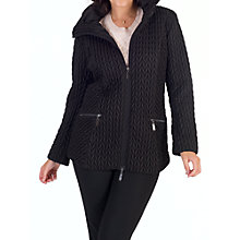 Buy Chesca Cable Embroidered Quilted Coat, Black Online at johnlewis.com